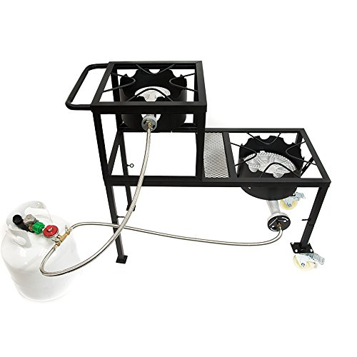 GAS ONE Propane Burner Two Step/Tier 300,000-BTU High-Pressure Propane Double burner on Wheels & Handle and CSA Listed High Pressure Regulator and Hose for Brewing & Griddles