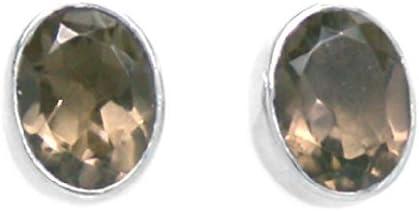 Pendientes de cuarzo ahumado en plata maciza 925–Talla de las piedras 6x 8mm