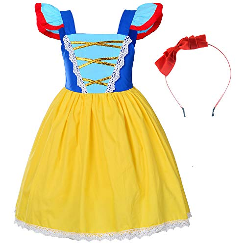 Toddler Girls Princess Snow White Costume For Birthday With Headband 2-3 Years (2T 3T)