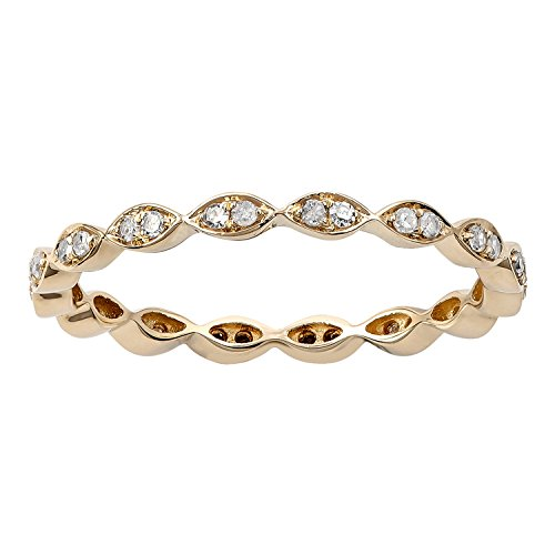 10k Yellow Gold Stackable Eternity Diamond Wedding Band (1/4 cttw, I-J Color, I2-I3 Clarity) by Instagems