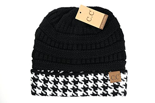 Crane Clothing Co. Women's Houndstooth CC Beanie One Size Black (Winter Beanie Print)