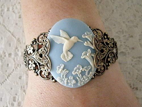 Hummingbird Cuff Bracelet, handmade jewelry victorian art nouveau art deco renaissance edwardian nature