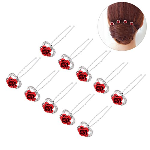 Frcolor 5 Pairs Red Rose Hair Pins U-shaped Rhinestone Flower Hairpin Clips Bridal Hair Accessory Wedding Headpiece