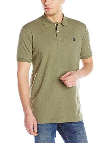 U.S. Polo Assn. Men's Solid Interlock Short Sleeve Polo, Olive Green Heather, Medium