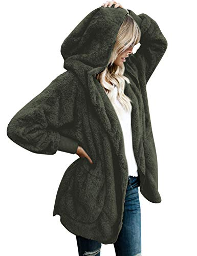 (LookbookStore Women's Oversized Open Front Hooded Draped Pocket Cardigan Coat Dark Green Size XL (Fit US 16 - US 18))