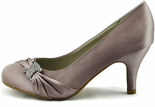 Sandals Damen Braut Court Satin Heel Party Bow Pumps New Size 3-8 Stil 1 - Nude
