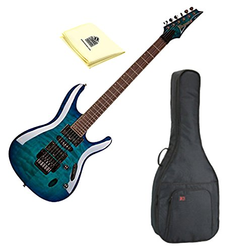 Ibanez S670QM S Series Solid Body Electric Guitar Sapphire Blue with Kaces KQA-120 GigPak Acoustic Guitar Bag and Custom Designed Instrument Cloth