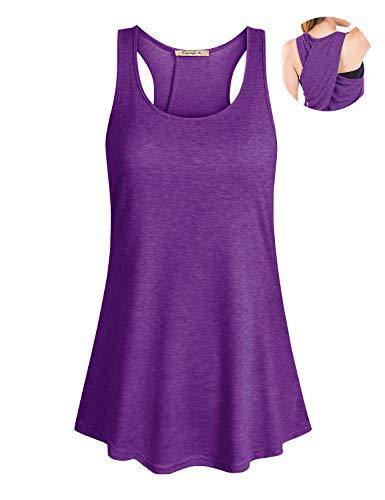 Cyanstyle Women's Sleeveless Scoop Neck Flowy Loose Fit Racerback Yoga Tank Top Purple -