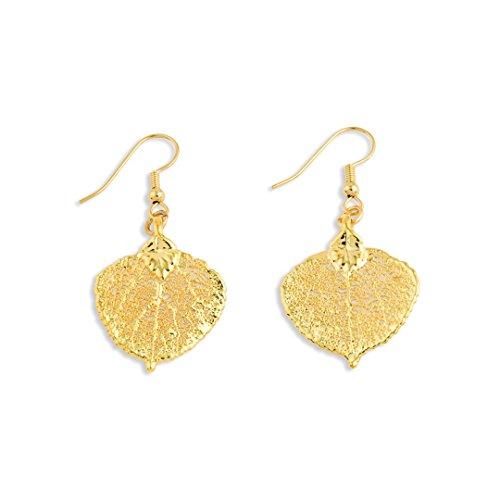 IceCarats 24k Gold Dipped Aspen Leaf Dangle ()