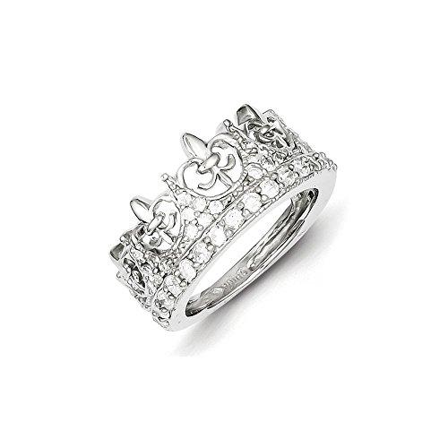 Mireval Sterling Silver Fleur-de-lis Crown CZ Ring - Size 8 ()