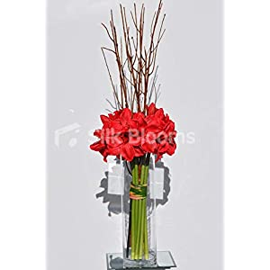 Silk Blooms Ltd Artificial Red Amaryllis and Wood Tall Vase Arrangement w/Stripy Leaves 40