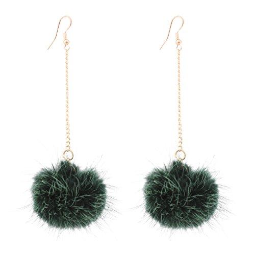 Boderier Cute Rabbit Fur Pompom Drop Earring Gold Chain Shoulder Duster Earring Ear Drop for Women Girls (Green)