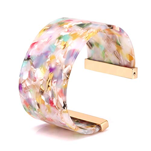 YOUMI Wide Cuff Bangle Bracelet for Women Acrylic Resin Tortoise Bangle Bracelet Statement Adjustable Bracelet (Floral)