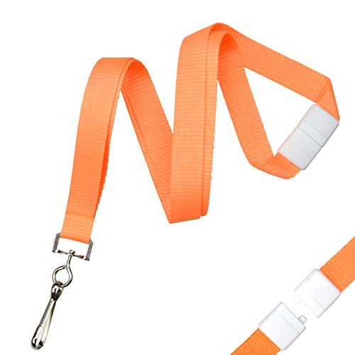 Bulk 100 Pack - Bright Orange Wide Neon Lanyards for Name Badges with Safety Breakaway Neck Clasp & ID Badge Holder J Clip - Hi Visibility for Name Tag, Keys, Cruise, Student ID's by Specialist ID