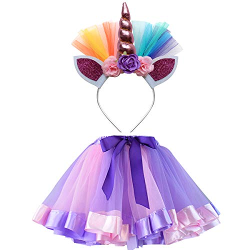 Unicorn Tutu Skirt and Unicorn Headband Outfit for Girls 2T, 3T,4T,5T,6T,7T Birthday Party Costumes -