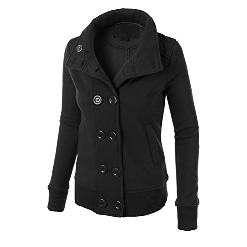 Zhhlinyuan Mujeres Ladies Winter Casual Stand Up Collar Hooded Sweatshirt Warm Outerwear Sweater Black