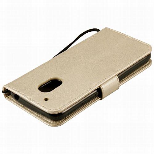 Custodia Motorola Moto G4 Play Cover Case, Ougger Alberi Gatto Printing Portafoglio PU Pelle Magnetico Stand Morbido Silicone Flip Bumper Protettivo Gomma Shell Borsa Custodie con Slot per Schede (Oro