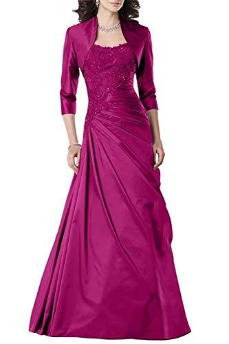 Fuchsia Taffeta Beading - Women's Taffeta Mother of The Bride Dress with Jacket Applique Long Formal Prom Dress