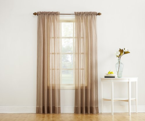 "No. 918 Erica Crushed Texture Sheer Voile Rod Pocket Curtain Panel, 51"" x 63"", Taupe - Crushed sheer voile fabric Gently filters light while enhancing privacy Rod pocket design allows for easy hanging on a standard curtain rod - living-room-soft-furnishings, living-room, draperies-curtains-shades - 41DJUoIaHVL -"