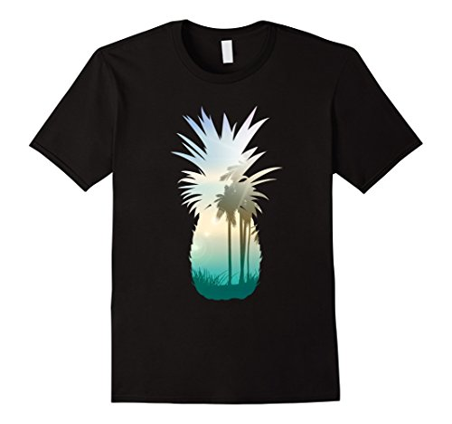 Mens Cool Graphic Pineapple Sunset Palm Tree Beach T-shirt Large - Palm T Shirt