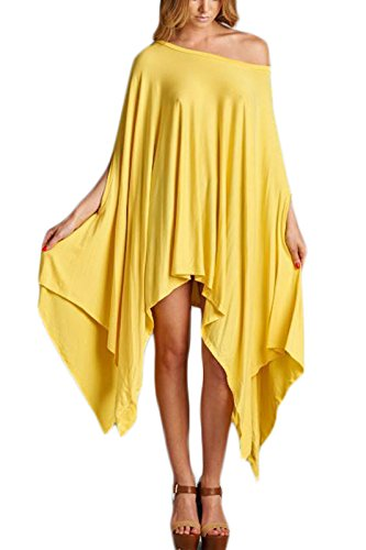 Glamour Sexy Flared Solid Poncho Cape Tunic Top Yellow OS ()