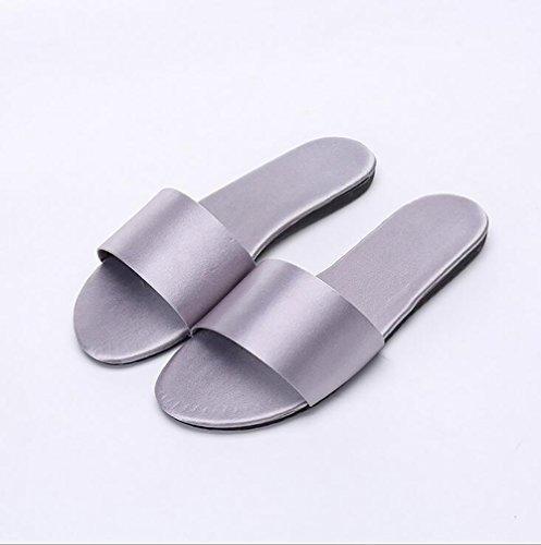 Chaussons À Aux Word Été Gray Purple Antidérapant Femmes Pantoufle Satin Respirant 39 Famille Chaussures SHANGXIAN Plat S7Bq4