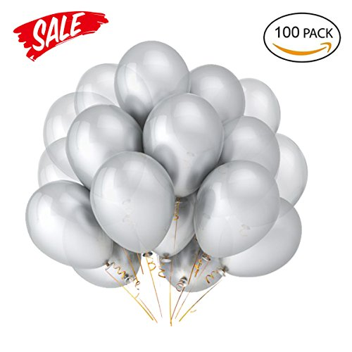 Metallic Images (Silver Balloons Hovebeaty 12 Inches thicken Latex Metallic Balloons 100 Pack for Wedding Party Baby Shower Christmas Birthday Carnival Party Decoration Supplies)