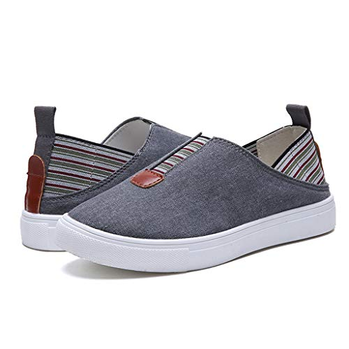ANJUNIE Women's Step Glow Slip Loafer Flat,Ladies Roman Cloth Canvas Shoes with Concealed Orthotic Arch Support(Gray,35)