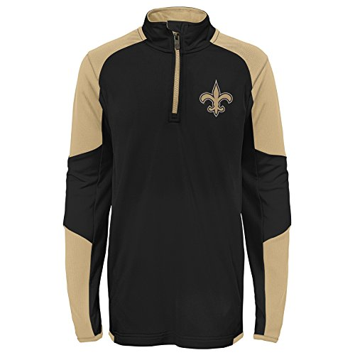 Outerstuff NFL New Orleans Saints Youth Boys Beta 1/4 Zip Performance Top, Black, Kids Large(7)]()