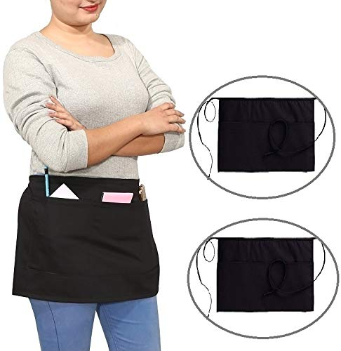 Ruvanti Black Waitress Apron - 2 Pack, Cotton Enriched Waist Apron with 3 Pockets- Long Ties,Extra Coverage, Commercial Grade Server Aprons. Durable Fabric, Comfortable Half Apron/Money Apron.