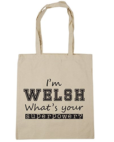 HippoWarehouse I'm Welsh What's Your Superpower? Tote Shopping Gym Beach Bag 42cm x38cm, 10 litres Natural