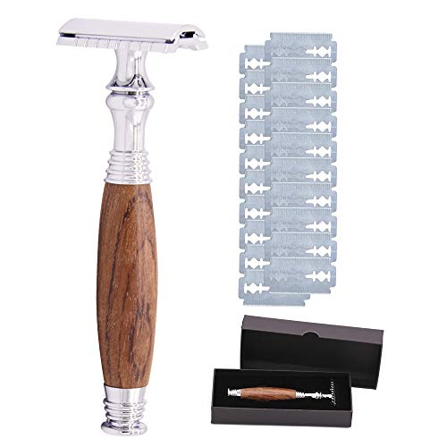 Homtool Double Edge Safety Razor, Long Natural Red Sandalwood Wooden Handle, Eco Friendly | Wood Safety Razor For Men Includes 20 Pcs Safety Razor Blades ()
