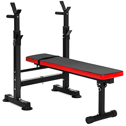 Best Choice Products Adjustable Folding Fitness Barbell Rack and Weight Bench for Home Gym, Strength Training - Black (Push Ups And Squats For Weight Loss)
