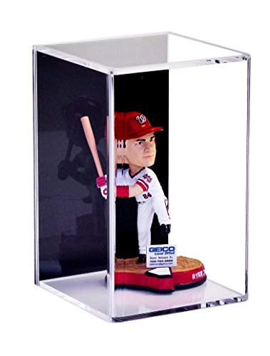 Deluxe Acrylic Display Case for Figurine Miniature Doll Bobblehead or Action Figure with Black Back and Wall Mount (A016-BB)