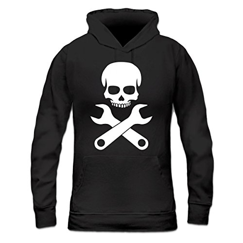 Sudadera con capucha de mujer Car Mechanic Skull by Shirtcity Negro