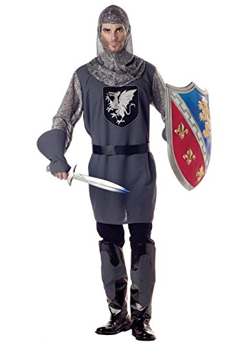 [California Costumes Men's Valiant Knight Costume, Black/Silver, Large] (Medieval Mens Costumes)