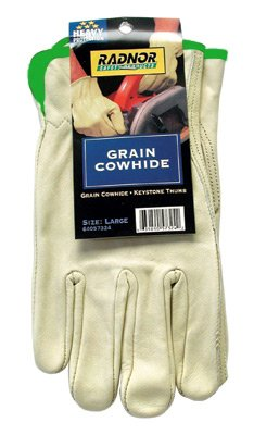 Radnor Medium Premium Grain Cowhide Unlined Drivers Gloves With Keystone Thumb, Slip-On Cuff, Color-Coded Hem And Shirred Elastic Back (Carded) (12 PR )