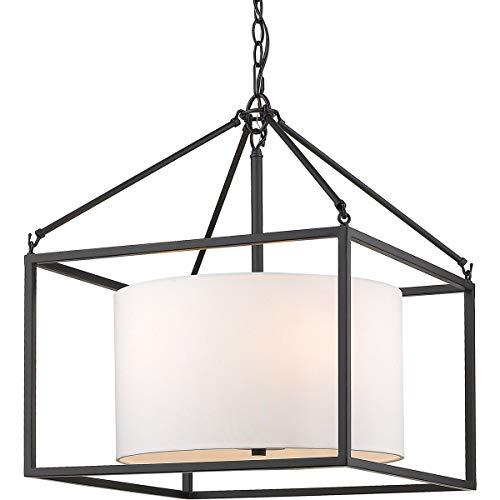 Matte Black Five Light Chandelier - Golden Lighting 2243-5-BLK-MWS Manhattan 5 Light 18 inch Matte Black Chandelier Ceiling Light