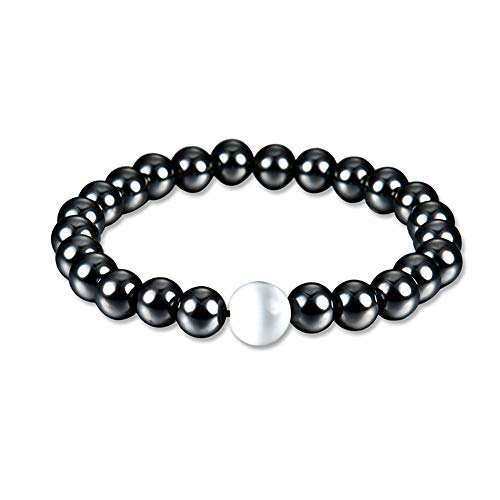 MIXIA Charm Black Magnetic Hematite Colorful Stretch Bracelet for Men Women Healthy Natural Stone Bangle Jewelry Gift (Pearl)