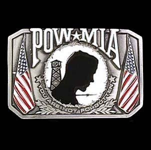 Pewter Belt Buckle - POW MIA - Pewter Belt Buckle