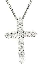 2.80 Ct White Gold Diamond Cross Pendant Necklace 14 Kt