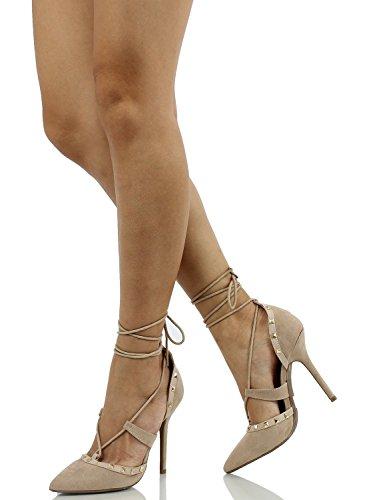 Arc-en-Ciel los zapatos de las mujeres del cordón tachonadas en punta tacón alto sandalia Marrón