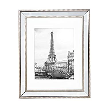 Isaac Jacobs 11x14 (Matted 8x10) Champagne Mirror Bead Picture Frame - Classic Mirrored Frame with Dotted Border Made for Wall Display, Photo Gallery and Wall Art (11x14 (Matted 8x10), Champagne)