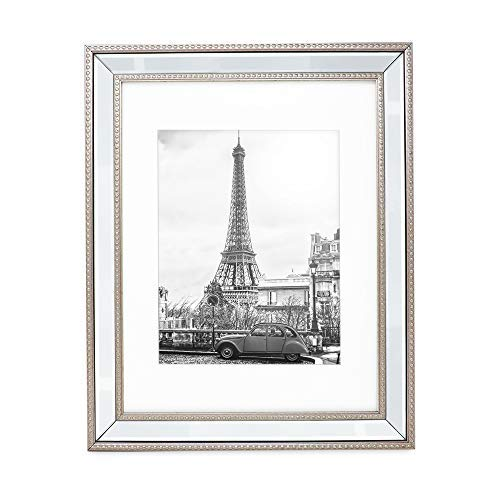 Isaac Jacobs 11x14 (Matted 8x10) Champagne Mirror Bead Picture Frame - Classic Mirrored Frame with Dotted Border Made for Wall Display, Photo Gallery and Wall Art (11x14 (Matted 8x10), Champagne) (Mirrored Gallery Frames)