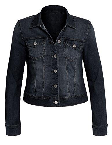 UPC 712131297944, Women's Button Down Long Sleeve Classic Outerwear Denim Jacket,L, 90017_Sapphire Blue, Large