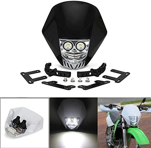 JFG RACING Dual 5W LED Bulbs 12V Universal Modified Headlight Head Lamp For Motorcycle Dirt Pit Bike ATV Scooters - Black