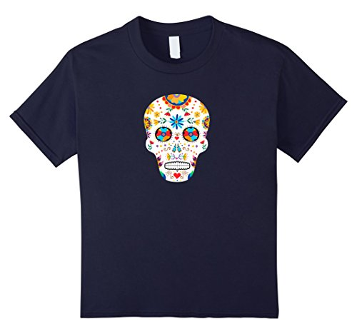 Kids Day of the Dead Sugar Skull Dia De Los Muertos Halloween Tee 12 Navy - Pretty Sugar Skull Halloween Costume
