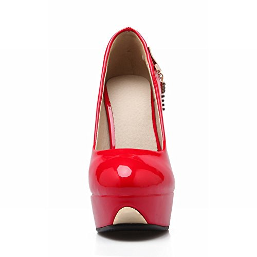 MissSaSa Damen Plateau high heel Lackleder Pumps Rot