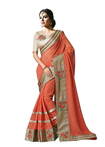 Jaanvi-Fashion-Peach-Designer-Georgette-Embellished-Saree