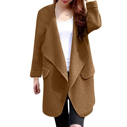 PlayMate Womens Fleece Casual Open Front Jackets Long Sleeve Warm Winter Lapel Oversized Coat Outerwear (Khaki, Free)